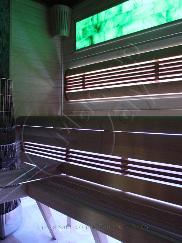 Сауна с подсветкой лавок - спинки - соленой стены - 16