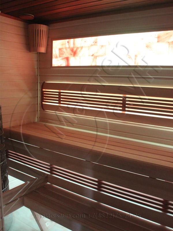 Сауна с подсветкой лавок - спинки - соленой стены - 20