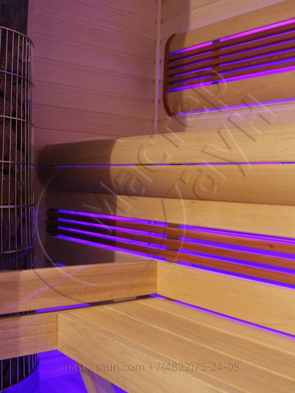 Сауна с подсветкой лавок - спинки - соленой стены - 6