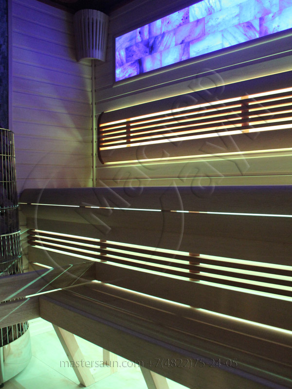 Сауна с подсветкой лавок - спинки - соленой стены - 10