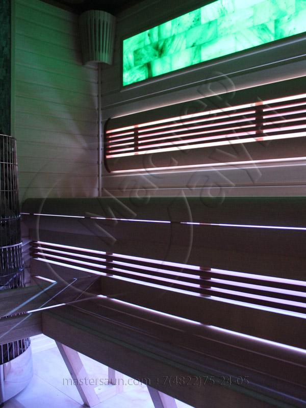 Сауна с подсветкой лавок - спинки - соленой стены - 12