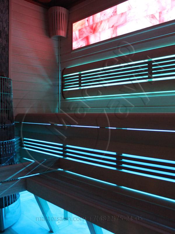 Сауна с подсветкой лавок - спинки - соленой стены - 13