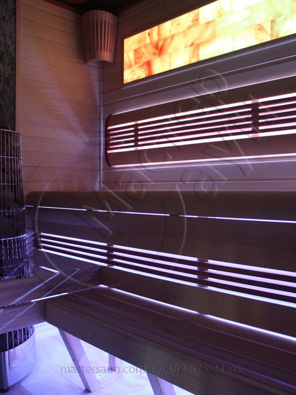 Сауна с подсветкой лавок - спинки - соленой стены - 17