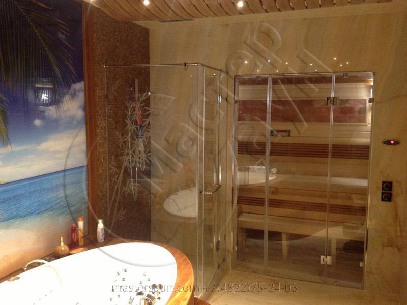 Сауна с подсветкой лавок - спинки - соленой стены - 4