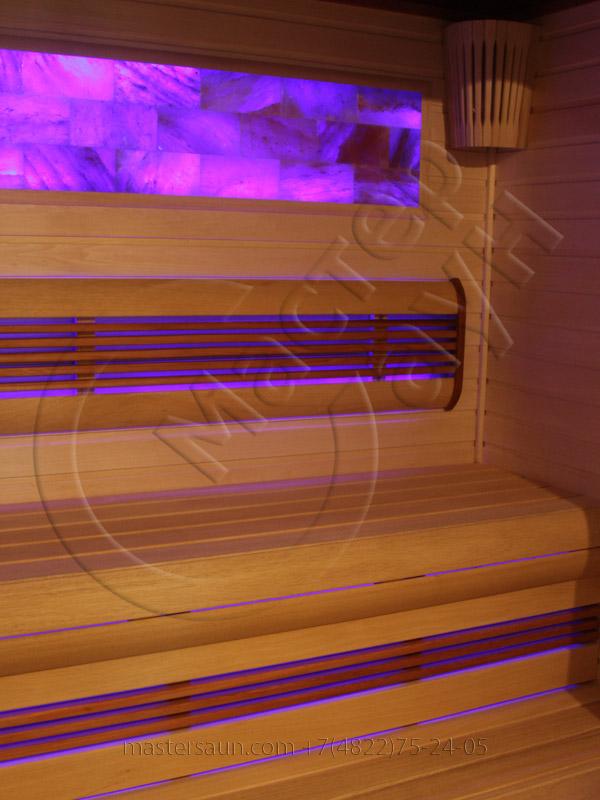 Сауна с подсветкой лавок - спинки - соленой стены - 5