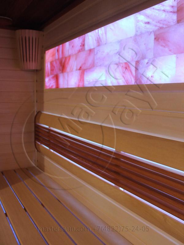 Сауна с подсветкой лавок - спинки - соленой стены - 7