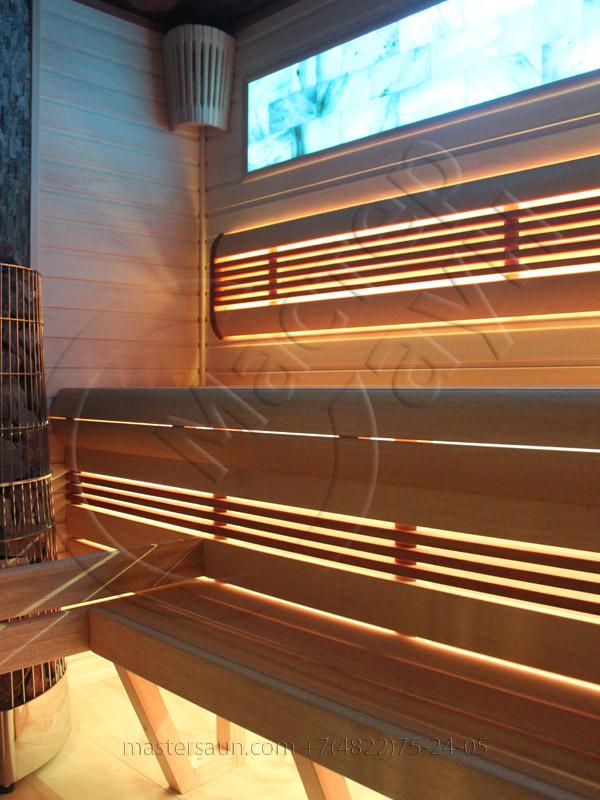 Сауна с подсветкой лавок - спинки - соленой стены - 9